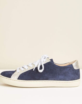 Marineblaue sneakers im materialmix kamille marineblau.