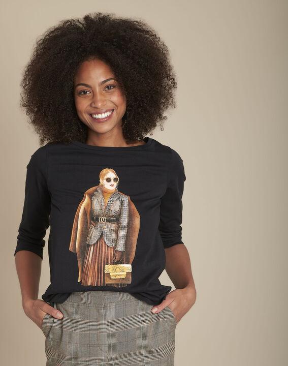 Tee-shirt noir sérigraphié en coton biologique Camille PhotoZ | 1-2-3