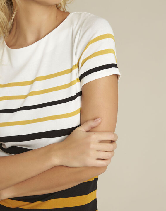 Bernsteinfarbenes gestreiftes T-Shirt mit Rundhalsausschnitt Gasayat (3) - 1-2-3
