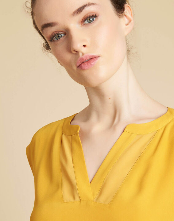 Bianca yellow T-shirt with rounded coated neckline PhotoZ | 1-2-3