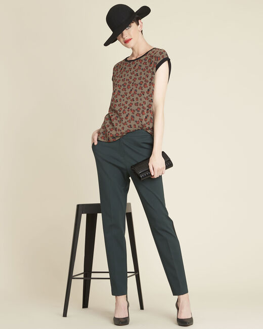 Khakifarbenes Top im Materialmix mit Animal-Print Calista (1) - 1-2-3