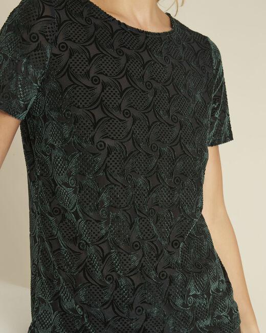 Tee-shirt vert foncé velours et dévoré Gelvet (2) - 1-2-3