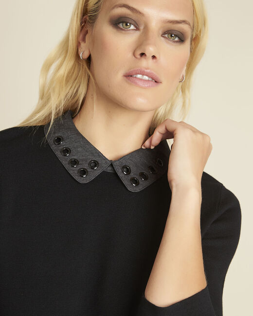 Bianca black sweater with Peter Pan collar (1) - 1-2-3