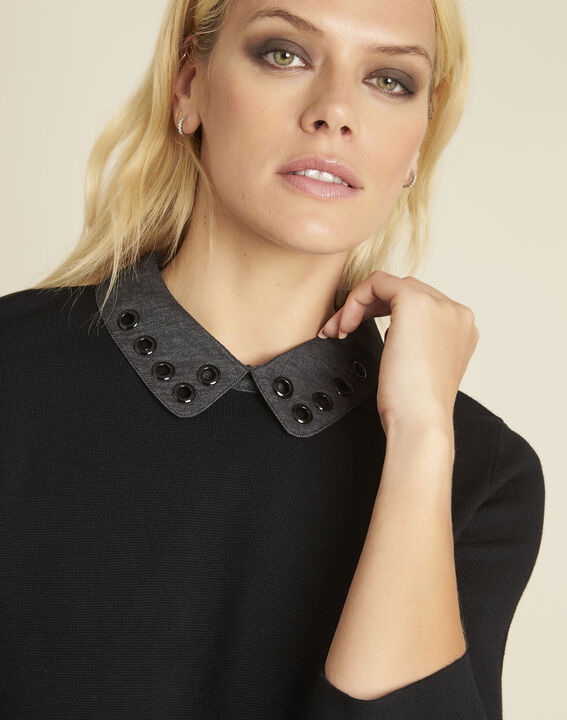 Schwarzer Pullover mit fantasievollem Bubikragen Bianca (2) - 1-2-3