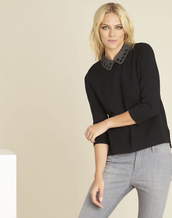 Bianca black sweater with Peter Pan collar (1) - Maison 123