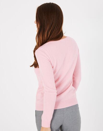 Pivoine pale pink V-neck sweater in cashmere (4) - 1-2-3