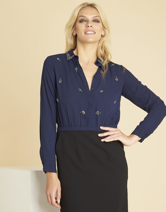 Nora navy blue dual-fabric dress with jewelled detailing PhotoZ | 1-2-3