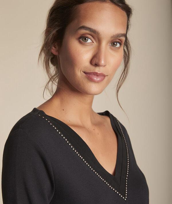 Tee-shirt noir col V Carla PhotoZ | 1-2-3