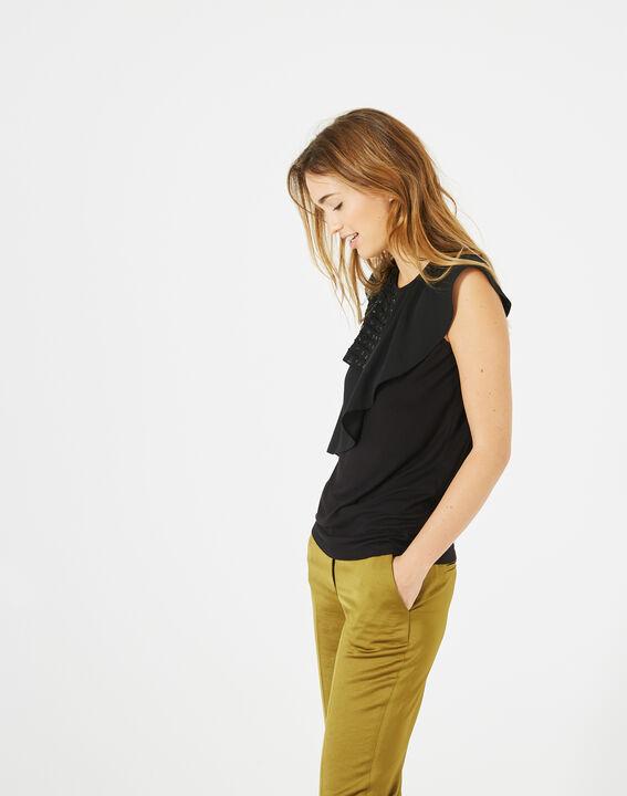 Tee-shirt noir basque volantée Bella (5) - 1-2-3