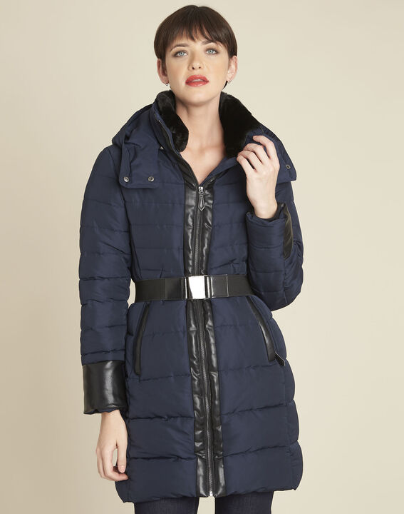 Phiby navy belted down jacket (1) - Maison 123