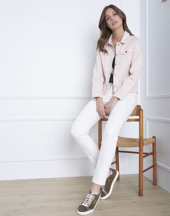 Kurze, puderfarbene Jacke aus Jeansstoff Clem (2) - Maison 123