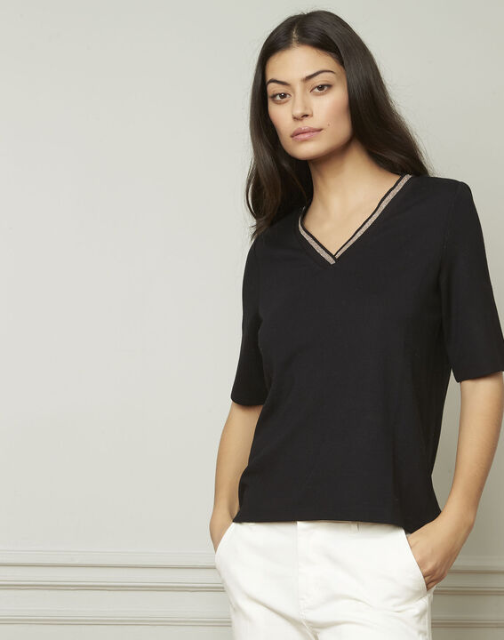 Schwarzes T-Shirt mit V-Ausschnitt Lurex Pluie (2) - 1-2-3