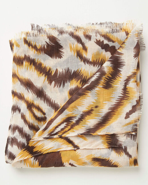 Foulard imprimé animal caramel Altesse (2) - 1-2-3