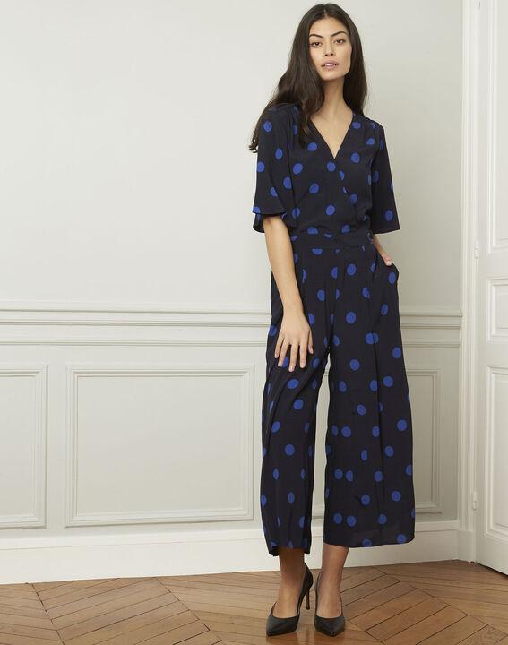 3104eb3503ce Lamberta navy polka dot print flared jumpsuit - Maison Cent Vingt-Trois