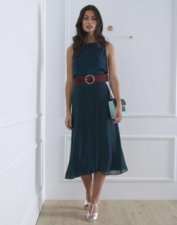 Langes, plissiertes, dunkelgrünes Kleid Isabella (2) - Maison 123