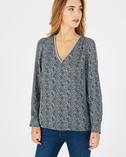Dolce navy blue printed blouse (2) - 1-2-3