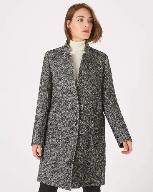 Manteau noir et blanc chiné col cranté Java (1) - 1-2-3