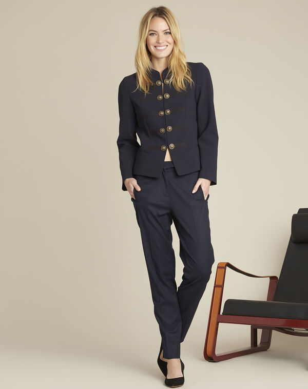 Navy military-style jacket (2) - 1-2-3