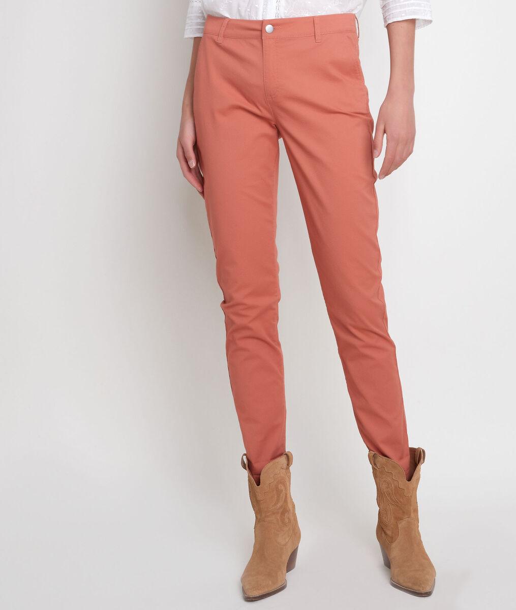 Pantalon droit en coton rouge orangé Francis PhotoZ | 1-2-3