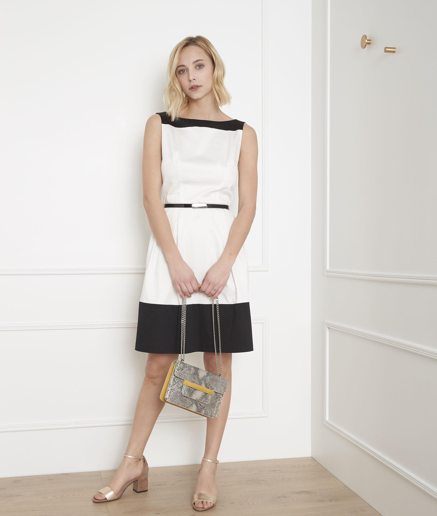 Weißes Kleid Colorblocking Weißes Hisis Colorblocking Kleid Schwarz Schwarz CeBorWdx