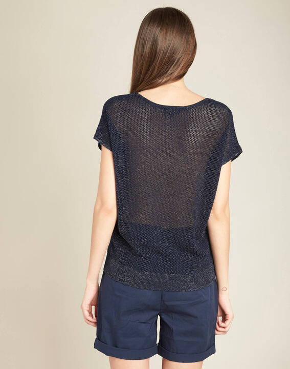 Noix short-sleeved fine-knit navy blue sweater (4) - 1-2-3