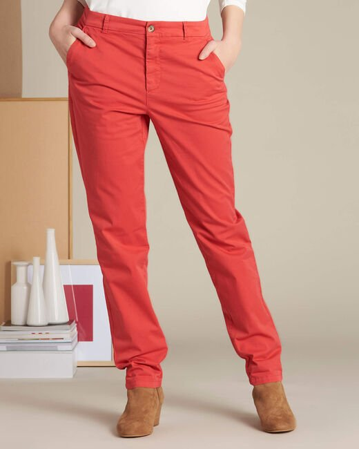 Victoria raspberry chinos with turn-ups (2) - 1-2-3