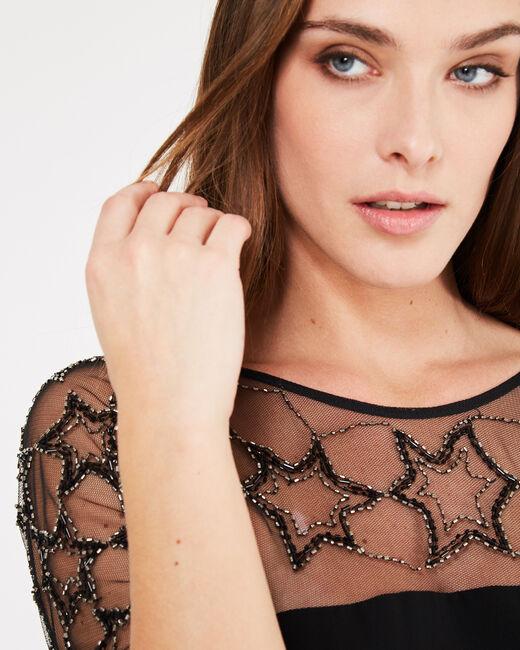 Schwarzes Kleid mit Tüll-Einsatz und Stickerei Grace (2) - 1-2-3