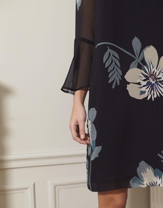 Marineblauwe jurk met bloemenprint Astrid (3) - 37653
