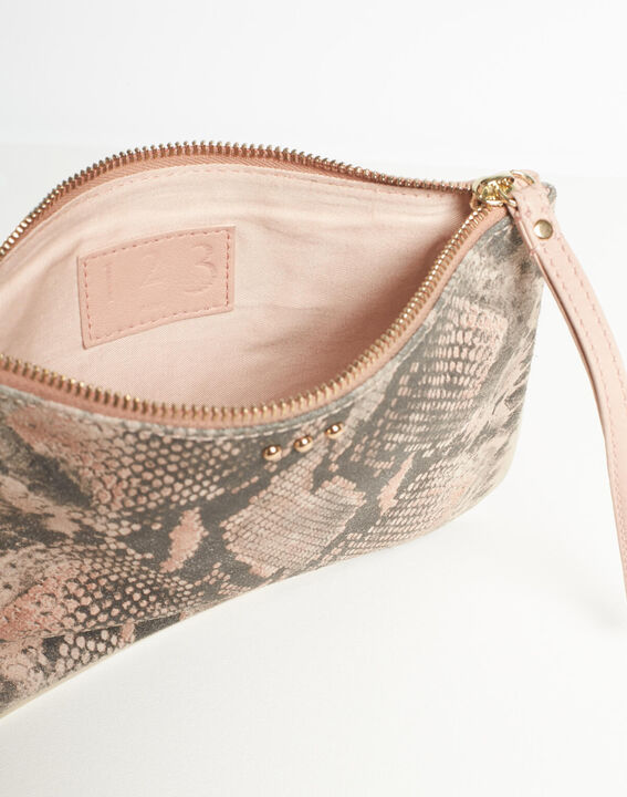 Droopy pink python print clutch with leather straps (5) - 1-2-3