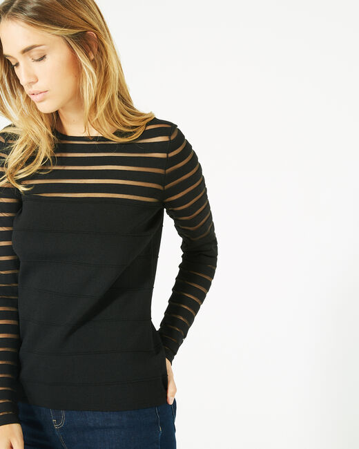 Peggy black sweater with transparent stripes (2) - 1-2-3