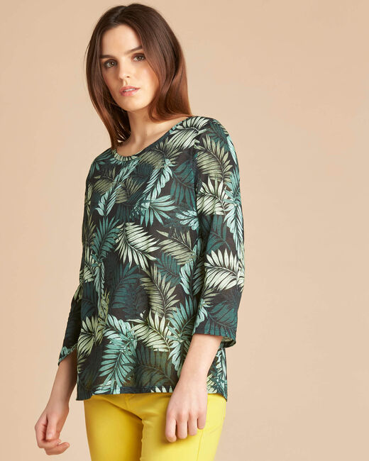 Ebahi leaf print T-shirt with 3/4 length sleeves (2) - 1-2-3