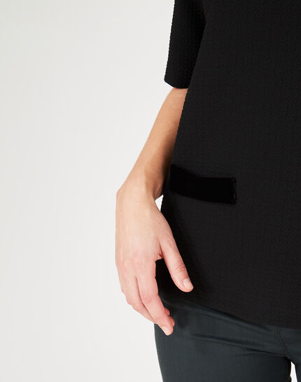 Tee-shirt noir à empiècements velours Livia (3) - 1-2-3