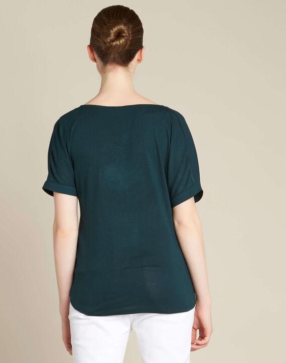 Tannengrüne Bluse mit kontrastierendem Ausschnitt Garry (4) - 1-2-3