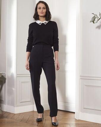 Schwarzer pullover mit hemdkragen mit schmuck beads schwarz.