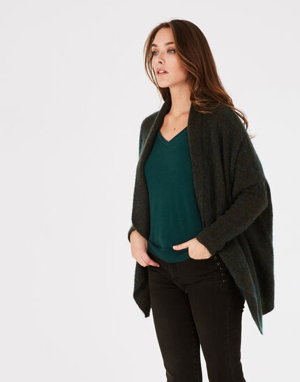 Waldgrüne lange Jacke aus Mohair und Wolle Patchouli (2) - 1-2-3
