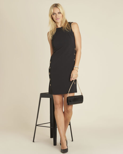 Dora straight-cut black dress with eyelets (1) - 1-2-3