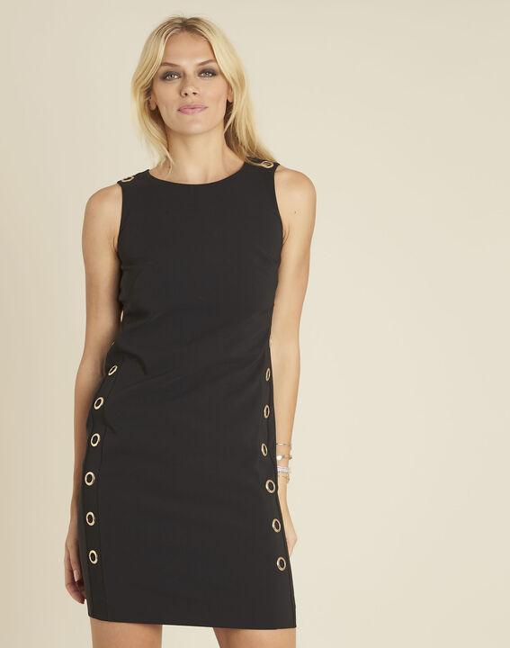 Zwarte rechte jurk met vetergaten Dora PhotoZ | 1-2-3