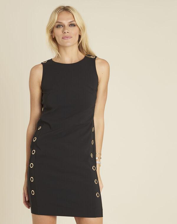 Zwarte rechte jurk met vetergaten Dora (1) - 37653