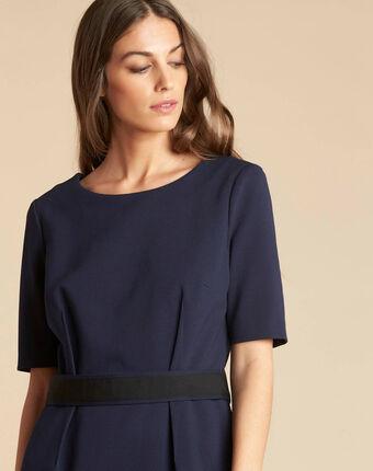Marineblaues tailliertes kleid mit gürtel pam marineblau.