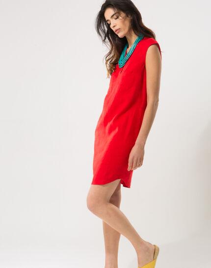 Bellini red linen dress (6) - 1-2-3