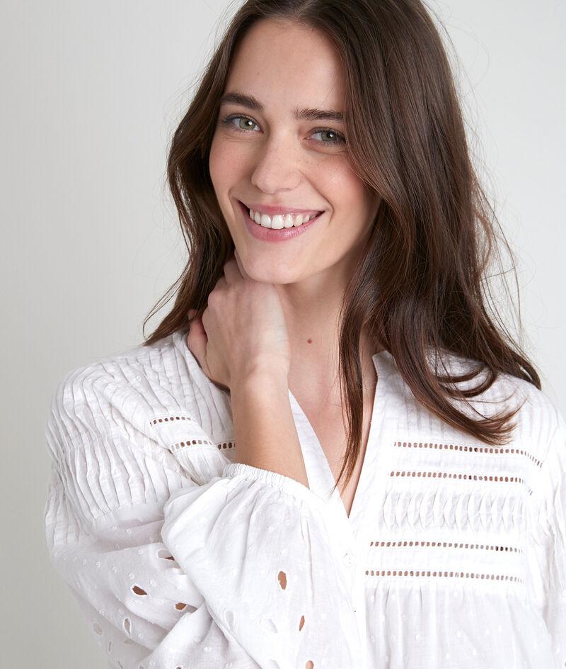 Blouse romantique en coton brodé blanc Tehany PhotoZ | 1-2-3