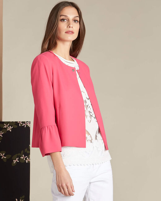 Clementine fuchsia jacket with frilled detailing (2) - 1-2-3