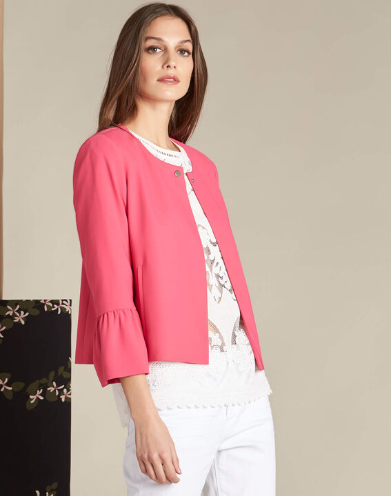 Clementine fuchsia jacket with frilled detailing (3) - 1-2-3