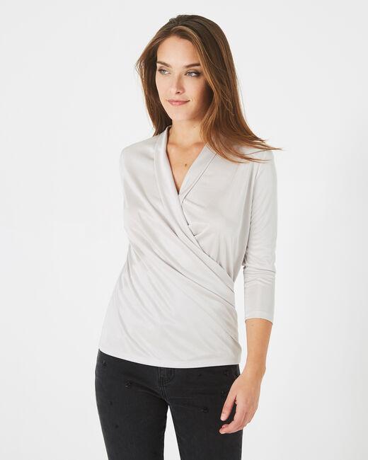 Tee-shirt gris pâle drapé façon cache-coeur Bomba (2) - 1-2-3