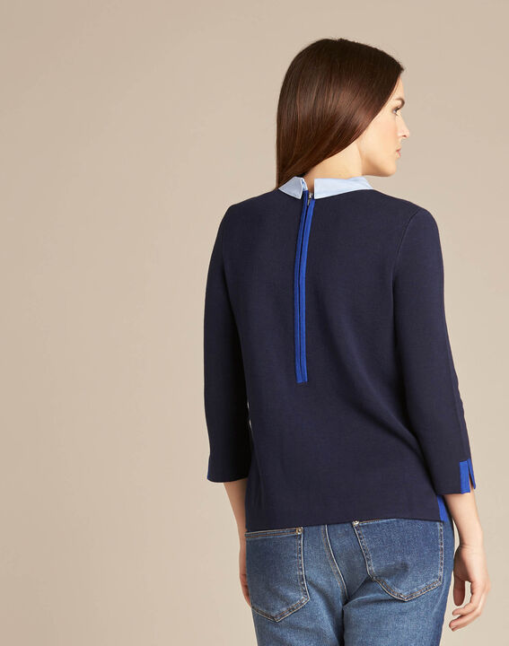 Noémie navy blue sweater with shirt collar (4) - 1-2-3