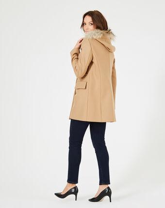 Camelfarbener 3/4-mantel aus wolle joe camel.