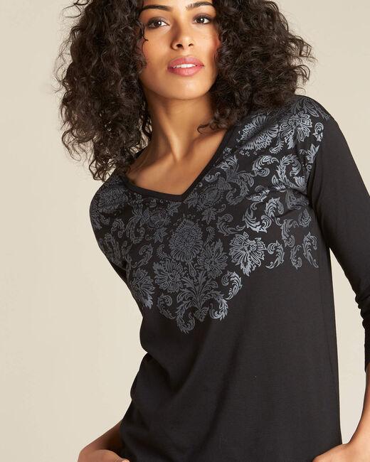 T-shirt noir imprimé végétal Email (1) - 1-2-3