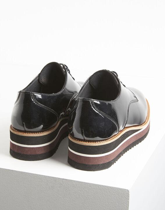 Lackierte schwarze Derby-Schuhe mit Plateau Ludivine (4) - 1-2-3