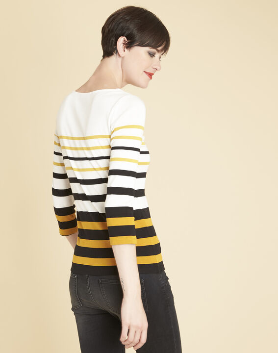 Gasayat ochre striped T-shirt (4) - 1-2-3