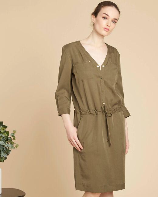 Khakifarbenes fließendes Kleid Pacifique (2) - 1-2-3